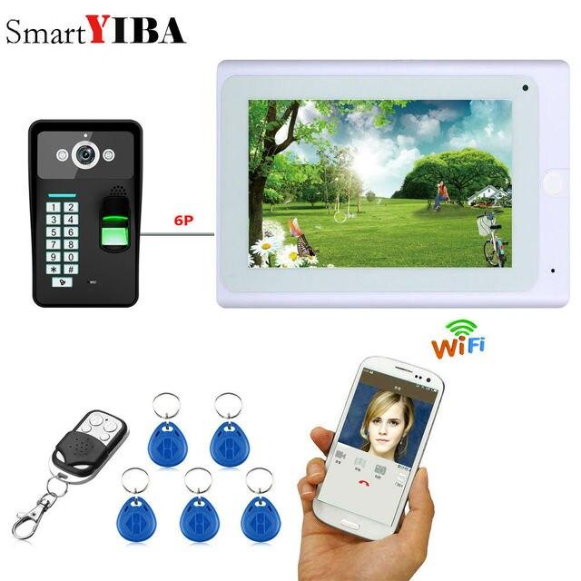 """Yobang Security 7 """"przewodowy/bezprzewodowy wideodzwonek wifi domofon z odciskiem palca hasło rfid IR CUT kamera hd"""
