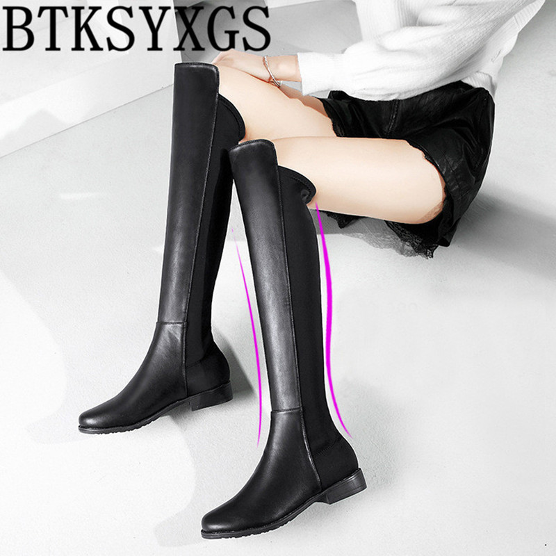 BTKSYXGS 2017 sexy Women's Over the Knee Long Flat boots leather Fashion High elastic Thigh High snow boots Woman winter shoes avvvxbw 2016 new brand long boots fashion elastic over the knee boots shoes woman square heel genuine leather thigh high boots