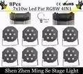 8cs/lot 7x10 Вт led Par света RGBW 4in1 плоским пар led dmx512 диско свет профессиональной сцене dj оборудование