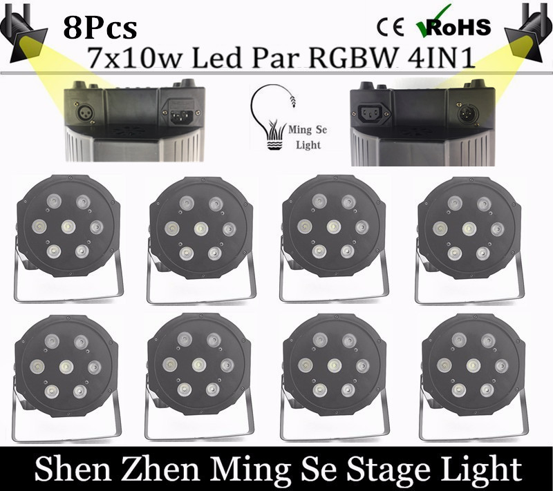 ФОТО 8cs/lot  7x10W led Par lights RGBW 4in1 flat par led dmx512 disco lights professional stage dj equipment