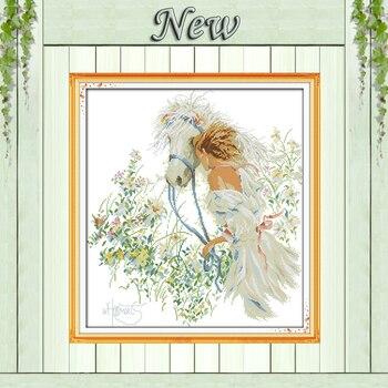白馬と女の子庭絵画カウント印刷 14CT 11CT DMC クロスステッチキット裁縫セット刺繍