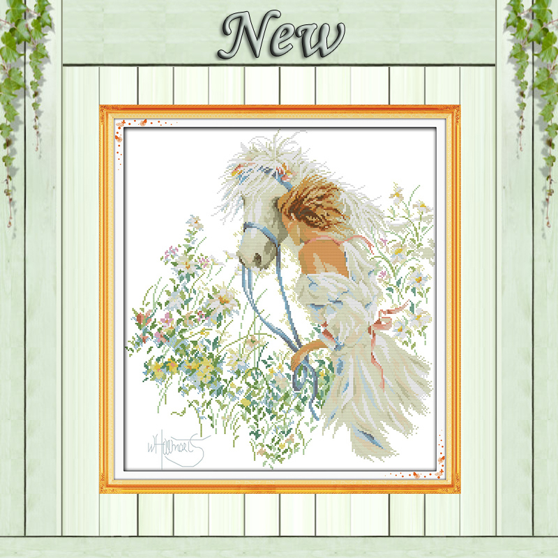 White horse and girl in the garden painting counted print on canvas 14CT 11CT DMC Cross Stitch kits Needlework Sets Embroidery
