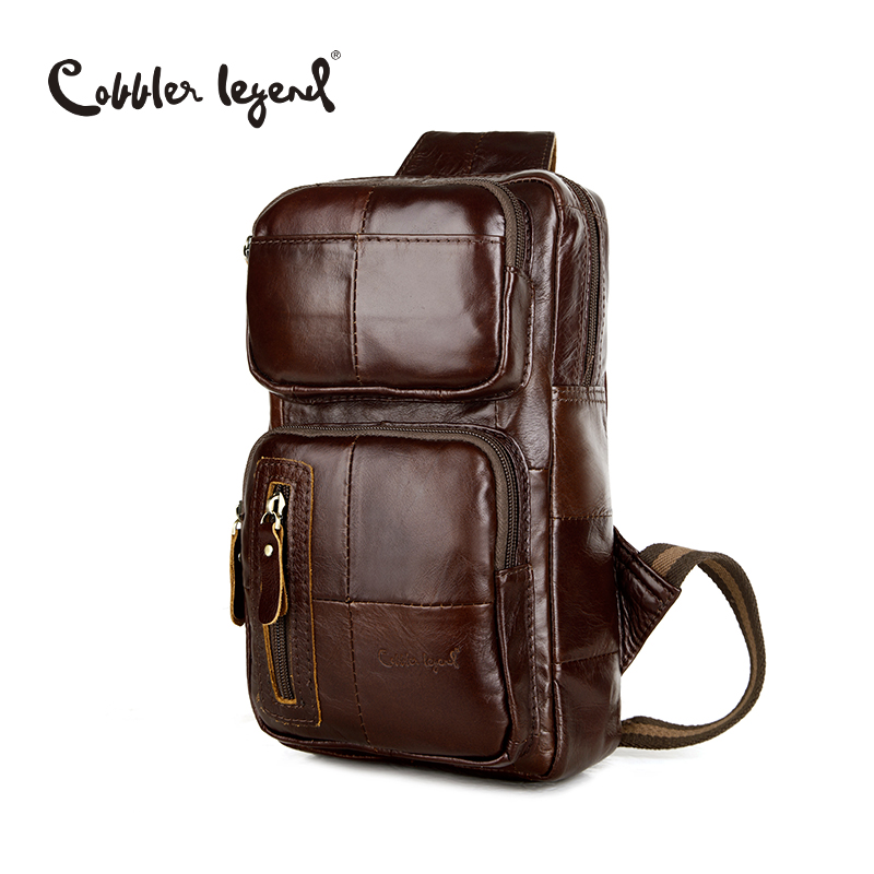 Cobbler Legend Classic Pattern Genuine Leather Men s CrossBody Chest Bag Pack Fashion Genuine Leather Crossbody