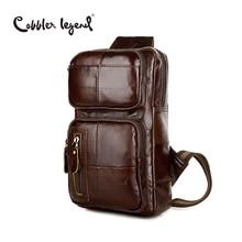 Clásico Patrón de Los Hombres de Cuero Genuino Cross Body Bag Pecho Paquete 802075