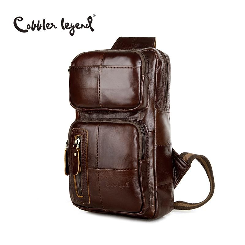 Cobbler Legend Classic Pattern Genuine Leather Men's CrossBody Chest Bag Pack Fashion Genuine Leather Crossbody Brand Designer cobbler legend 2015 messenger 100