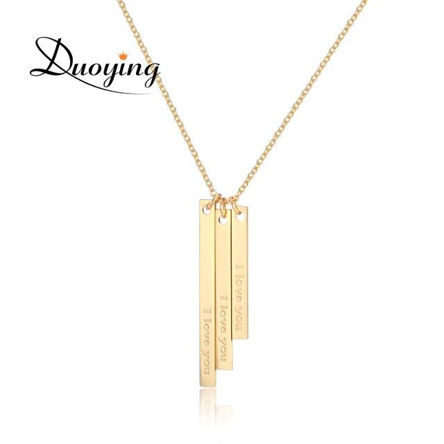 Duoying Vertikale Bar Benutzerdefinierte Initial Halskette Gravierte ...