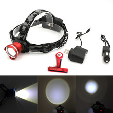New Rechargeable Headlamp with 2* 18650 Batteries 2000 Lumens LED Headlight Camping Cycling Head Lamp Torch + AC/Car Charger