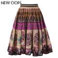 NEW OOPS Retro Floral Printed  Midi Skirts 2016 Winter High Waist Knee-Length Pleated Ethic Vintage Skirt Women Saias A1610064