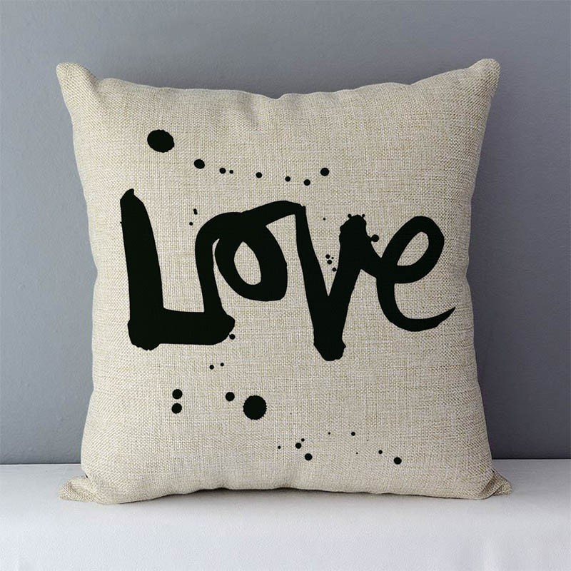 """HTB152mEcjDpK1RjSZFrq6y78VXao Popular phrase words letters printed couch cushion home decorative pillows 45x45cm cotton linen square cushions """"Love you more"""""""