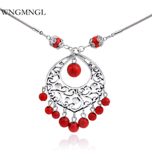 WNGMNGL 2018 New Vintage Ethnic Gypsy Hollow Carved Metal Blue Stone Pendants Tibetan Silver Snake Chain Necklaces For Women vintage jewelry bohemian tibetan silver chain necklaces gypsy ethnic carved metal flower pendants necklaces for women