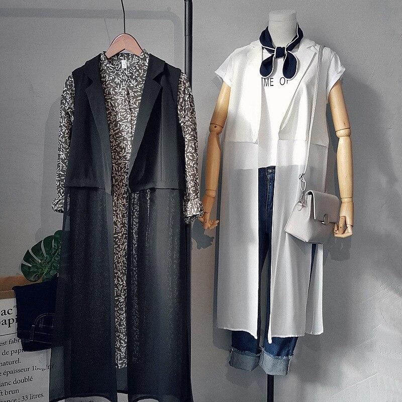 buy women chiffon long trench coat black white open stitch women trench femme. Black Bedroom Furniture Sets. Home Design Ideas