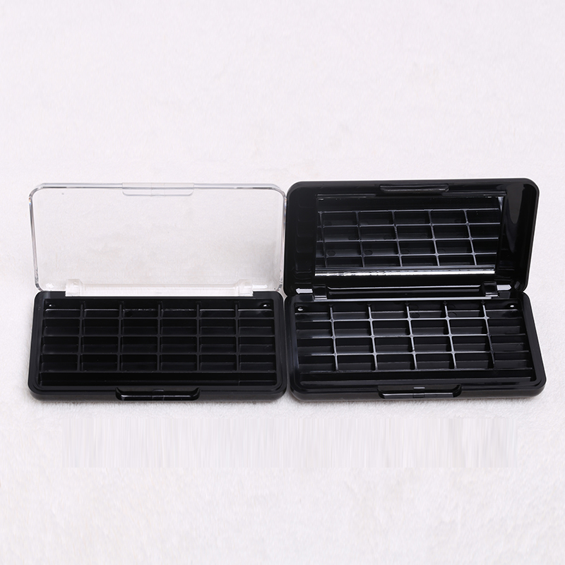 10/20pcs Rectangular Black Eyeshadow Case with mirror DIY Empty Cosmetic 24 Grids White Lip Blush Compact Box with clear cover select a vision sport readers with rectangular lens black