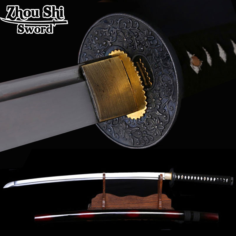The newly designed Home decor Samurai sword \ red Scabbard 1060 Forging high-carbon steel disc Flower Ngok Sharp