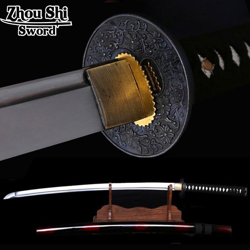 The newly designed Home decor Samurai sword \ red Scabbard 1060 Forging high-carbon steel disc Flower Ngok Sharp