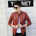 Red Men leather Jacket 3XL 2016 New Euramerican Style Male Casual Jackets Men's Slim zipper Coat Autumn Thin Jacket Fashion