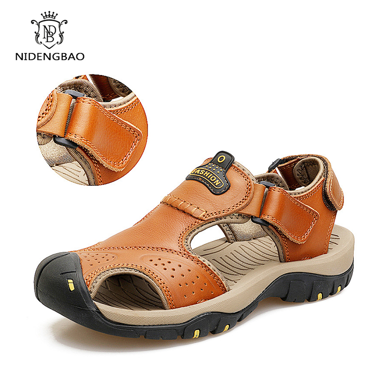 Summer Brand Genuine Leather Sandals Shoes For Men Light Soft Male Casual Shoes Breathable Beach Quality Walking Flip Flops