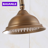 Free Shipping Antique Gold Rainfall Power Shower Head Bathroom Replace Rain Shower Head Handshower Round Shape