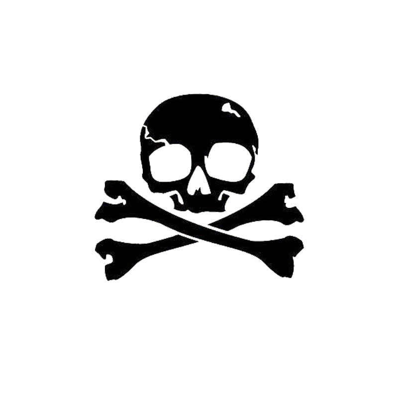 15 2*13 7CM Pirate Jolly Roger Skull Car Stickers Covering The Body Cartoon  Vinyl Decals Black/Silver C7-1015