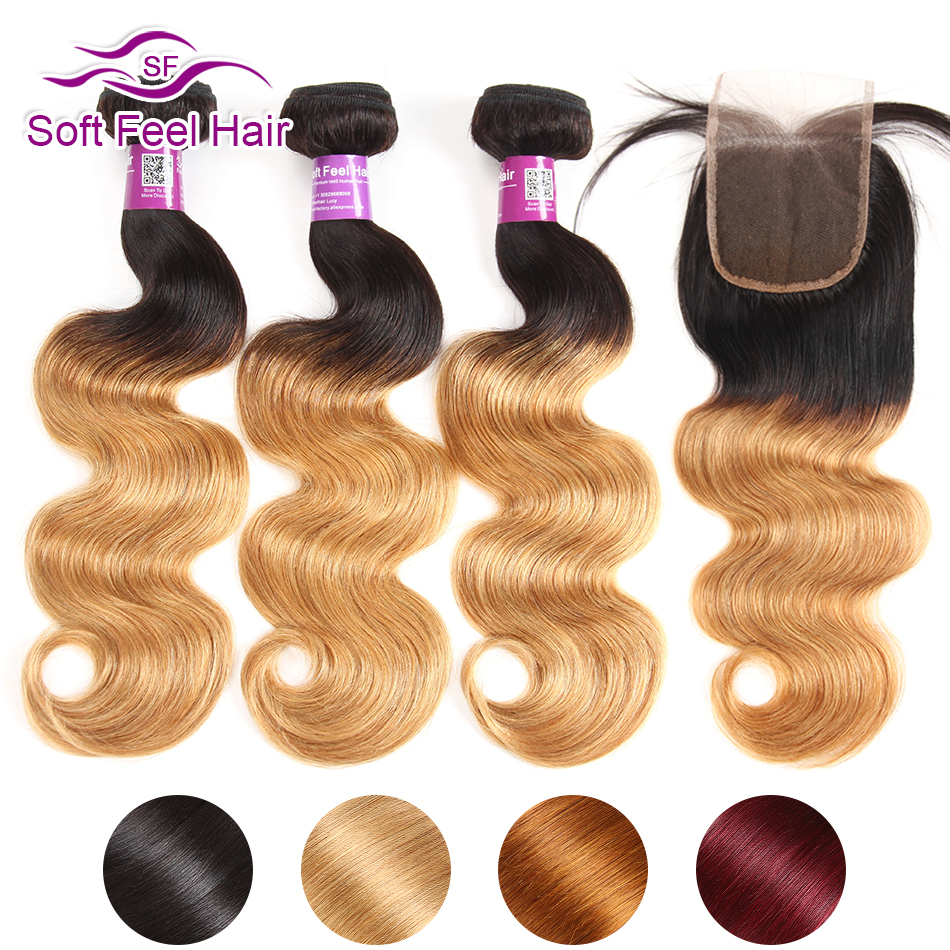Soft Feel Hair Ombre Hair Bundles With Closure Brazilian Hair Weave 3 4 Bundles With Closure