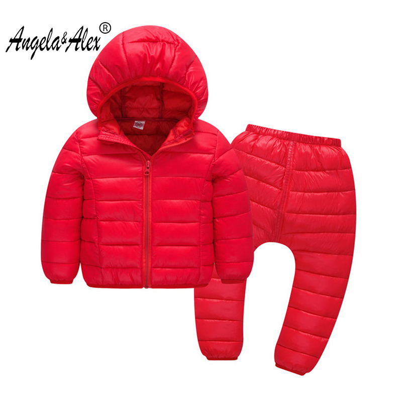 Angela&Alex Children Set Boys Girls Clothing Sets Winter Hoody Jacket + Trousers Waterproof Snow Warm Kids Clothes Suit 5 Color 2016 winter boys ski suit set children s snowsuit for baby girl snow overalls ntural fur down jackets trousers clothing sets