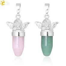 CSJA Angel Подвески для ожерелья в форме пули ювелирные изделия из природного камня зеленый авантюрин розовый с кварцевым тигровым глазом ювелирные изделия F360