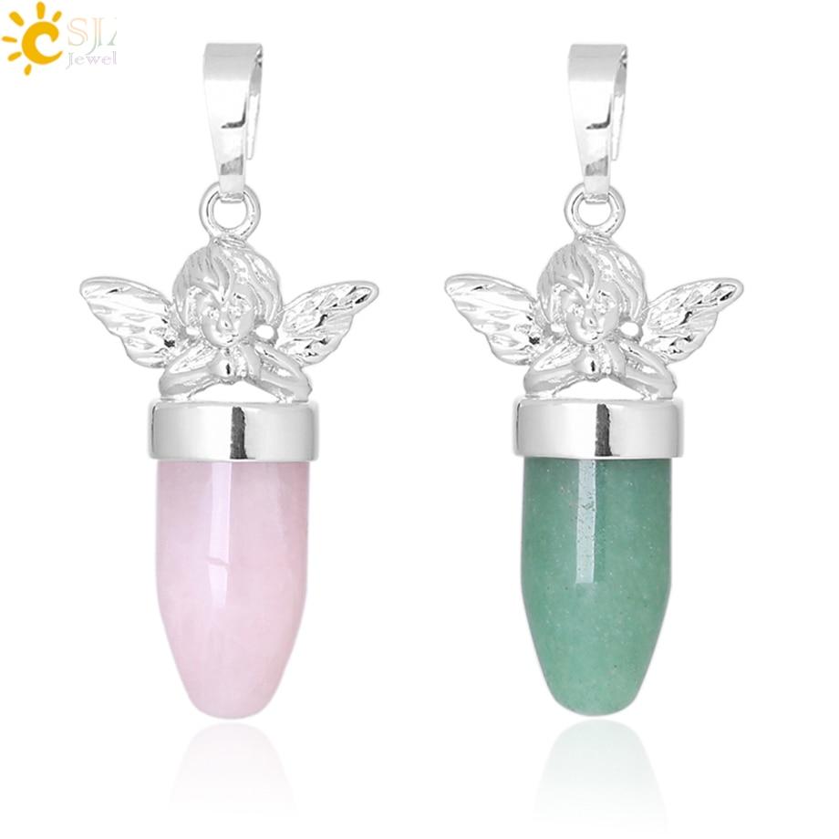 CSJA Angel Pendants For Necklace Bullet Shape 2019 Natural Stone Jewellery Green Aventurine Pink Quartz Tiger Eye Jewelry F360