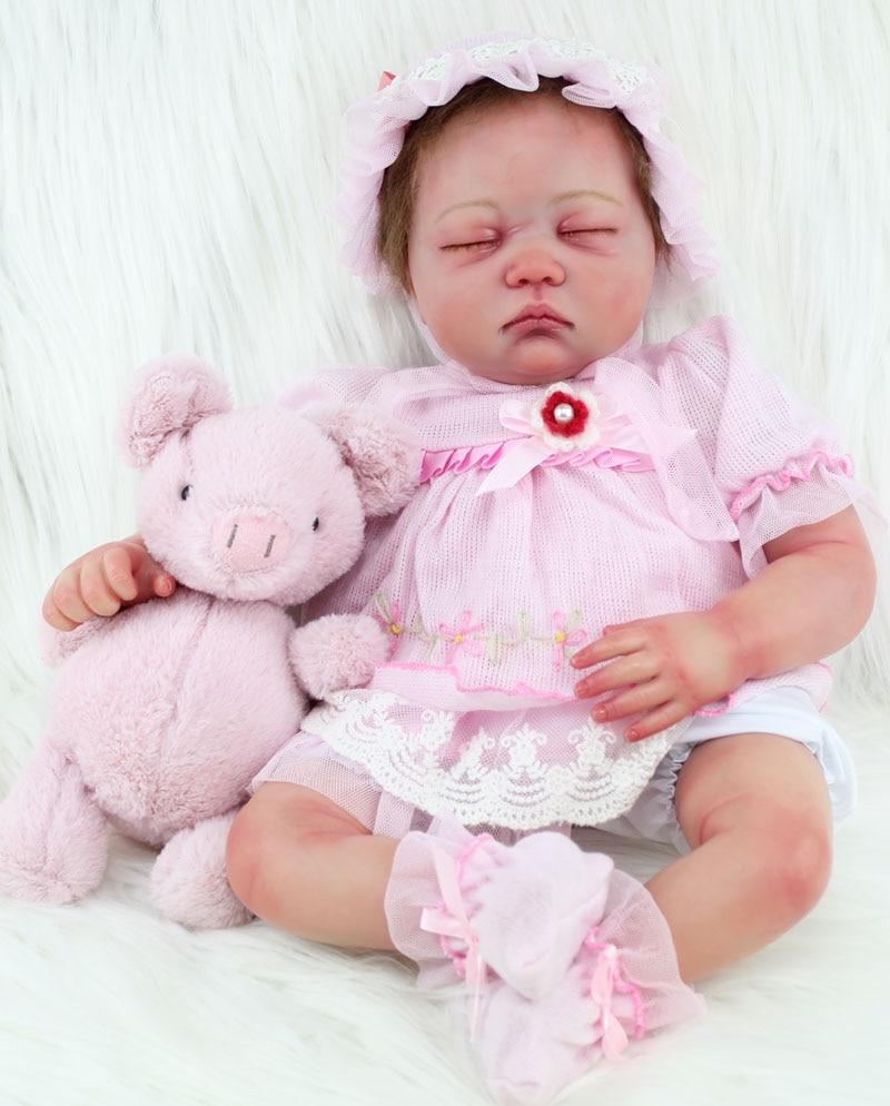55cm soft silicone reborn baby doll toys lifelike newborn sleeping girls babies...