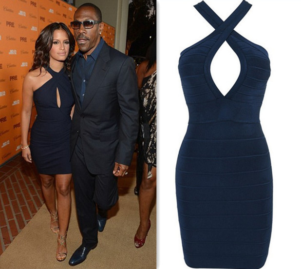 193ac64a6a3 H297 Sexy Elastic Knitting Keyhole Strapless Navy Blue Bandage Dress  Celebrity Party Formal Evening Gown Dress