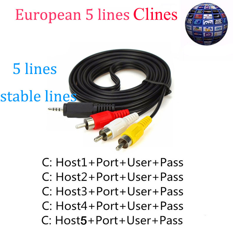 SATXTREM Cccam Clines 5 line HD AV Cable Europe 1 Year Share Card For Free Satellite Receiver Freesat V7 /Free sat V8 Super/IPS2 5 lines 1 year cccam europe lines hd av cable for satellite receiver dvb s s2 openbox v7 v8 super and others