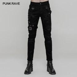 Панк рейв для мужчин Панк Рок мода личности длинные брюки готический стиль Повседневная Уличная Мужская мотоциклетные крутые брюки