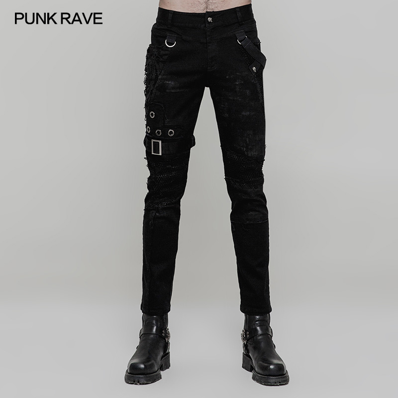 PUNK RAVE Men Punk Rock Fashion Personality Long Pants Gothic Style Casual Streetwear Men's Motocycle Cool Pants Trousers