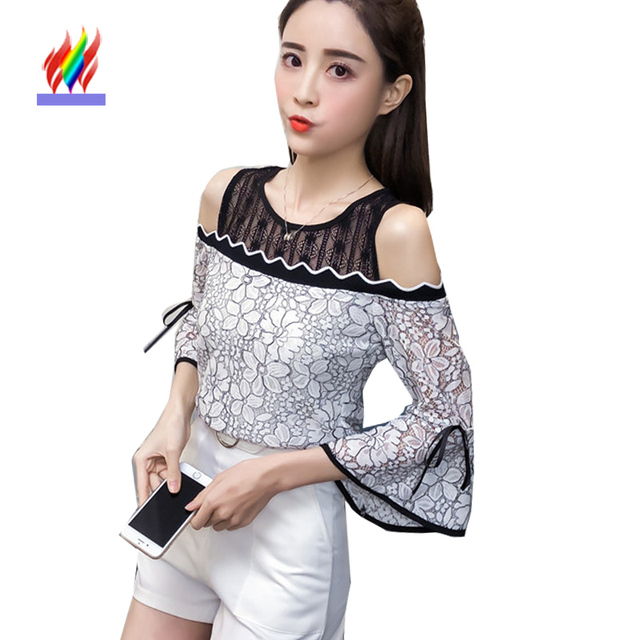 fac10cf8ed2 Off Shoulder Tops New Hot Sales Women Fashion Design Patchwork Black White Lace  Blouse Cute Sweet