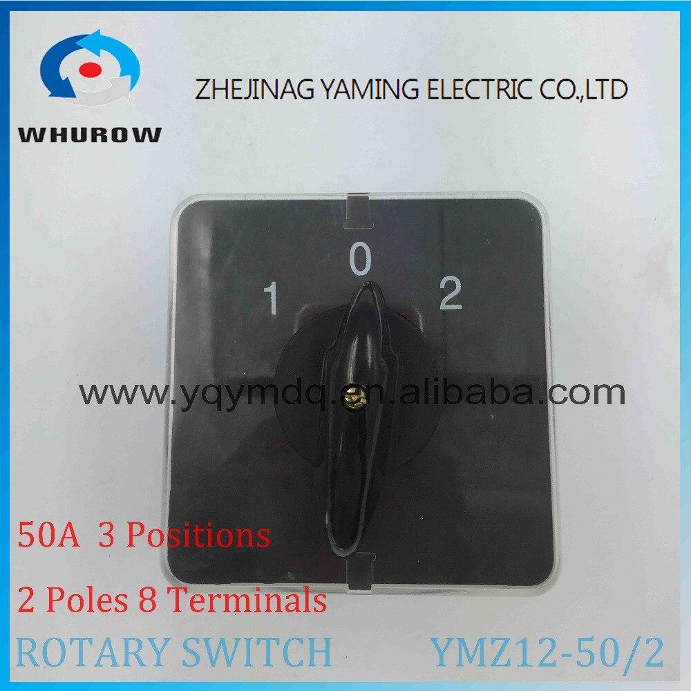 Rotary switch knob 3 position 1-0-2 YMZ12-50//2 universal manuelle elektrische umschaltung nockenschalter 50A 690 V 2 phasen hohe qualität
