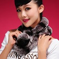 Autumn and Winter Women's Genuine Real Natural Rex Rabbit Fur Muffler Lady Warm Scarf Female Neck Warmers VF0198