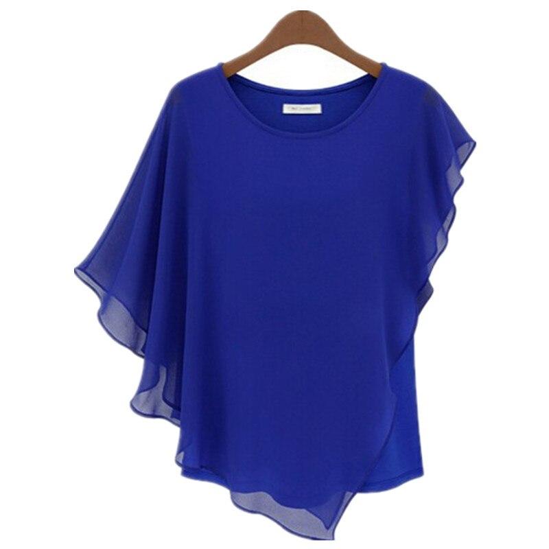 Irregular ruffle batwing sleeve women chiffon blouses 2015 for Tops shirts and blouses