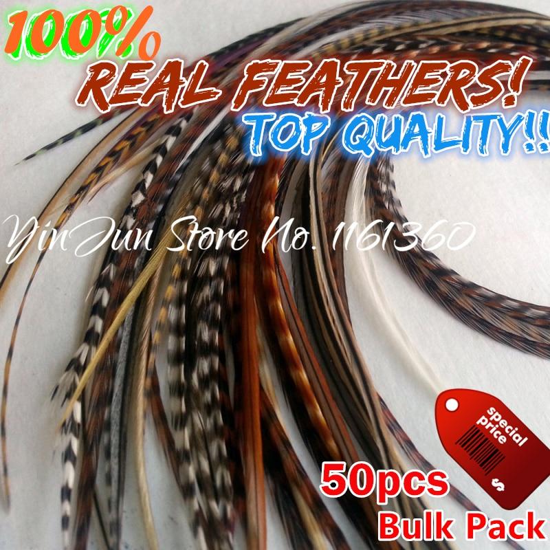 "6 ""-12"" Värderad 50st Grizzly Ombre Real Hair Rooster Fjädrar Plume Hair Styling Crochet Feather Hair Tool Extensions Tillbehör"