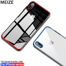 MEIZE Plated TPU Case For iPhone 7 Transparent Ultra Thin Silicone Cover X 8 6 6S Plus Phone Accessories