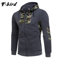 T Bird 2017 Hoodie Men Cardigan Camouflage Printing Hip Hop Sweatshirt Men S Hoodies Autumn Winter