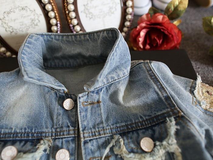 New Kids Clothes Children Girls Jackets Cool Kid Long Sleeves Turn-down Collar Buttons Coats Pocket Girl Pattern Denim Outerwear 2