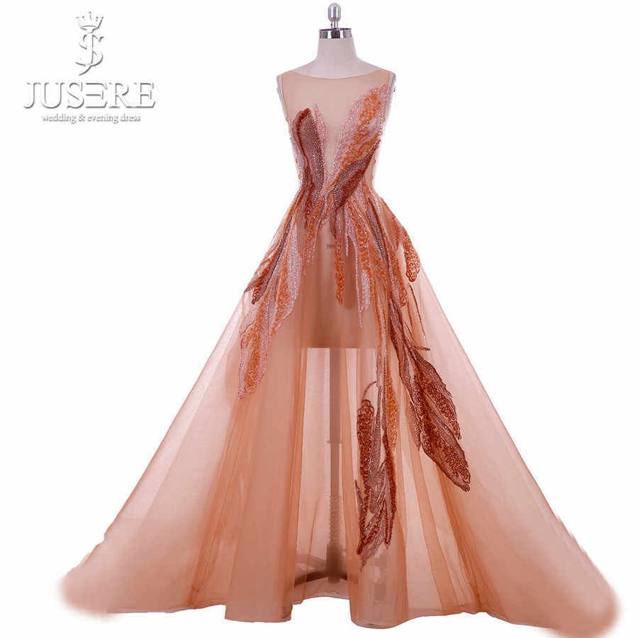f2643e3408 Jusere 2019 Haute Couture Real Photos Embroidery A-line Evening Dresses  Illusion With Crystals Tulle Gowns with Court Tail