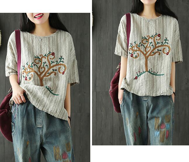 Small tree embroidery o neck short sleeve t shirt mori girl tee top 2017 summer YPS216