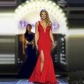 Largo rojo vestido de noche del v-cuello Simple hendidura lado Sexy robe de soirée vestido de la celebridad para señorita americana vestido de fiesta CGE445