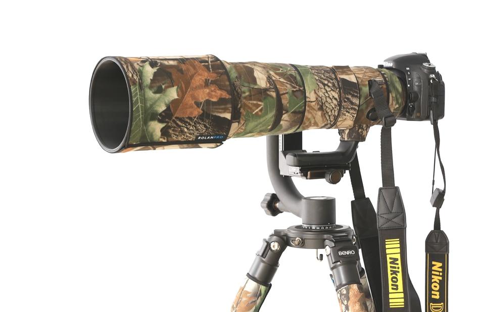 ROLANPRO Nylon Waterproof Lens Camouflage Rain Cover Nikon AF-S 500mm F/4E FL ED VR Lens Protective Sleeve Guns Protector Case