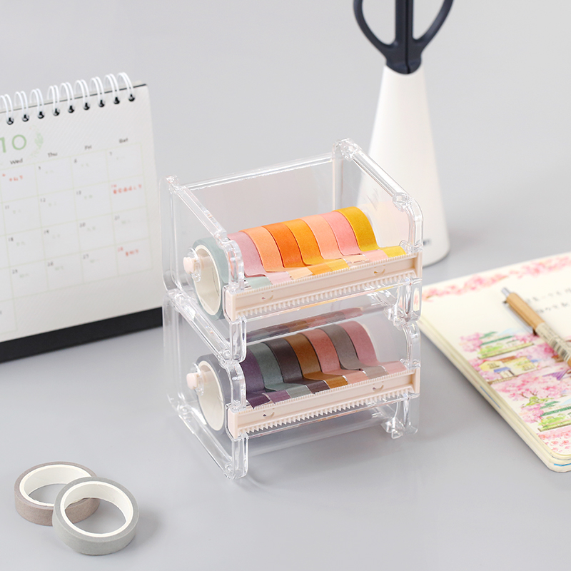 Washi Tape Dispenser Holder Cutter Office Supplies Desk Accessories Organizer