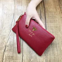 Купить с кэшбэком AOEO Women Wallets Genuine Leather calfskin Wristlet Money Bag for Girls With Double Coin Purse ladies Luxury Long Wallet Female