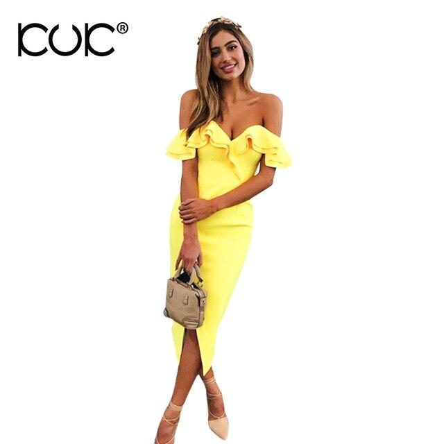 Kuk 3 Color Vestido Midi Dress Women Yellow White Black Ruffle Off Shoulder  Dress Ladies Work Office Wear A288 8929c4860