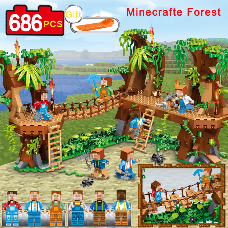 686PCS Mine Compatible Legoe MY WORLD Minecrafted Forest Model Building Blocks Set Brick Action Figure Toys Gift For Children цена