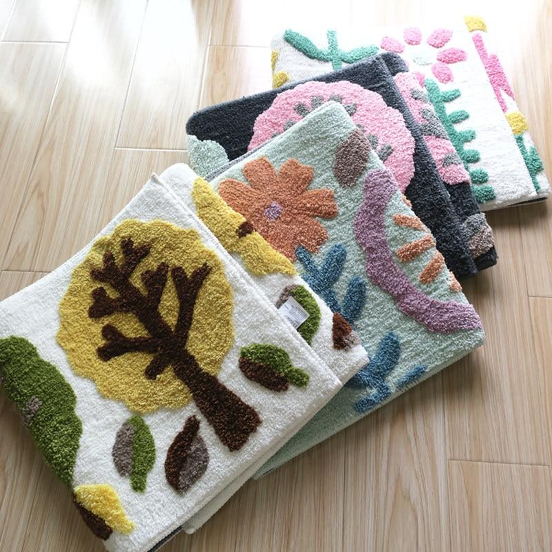 Pastoral Style Door Mattress Foot Pad Mat Bedside Carpet Kids Room Balcony Kitchen Rugs Large Size Floor Carpet For Home Decor
