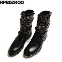 на платформе батильоны ботинки черный Роскошные бренды обувь женщины панк Настоящая кожа ботильоны Круглый носок зашнуровать колос высоко