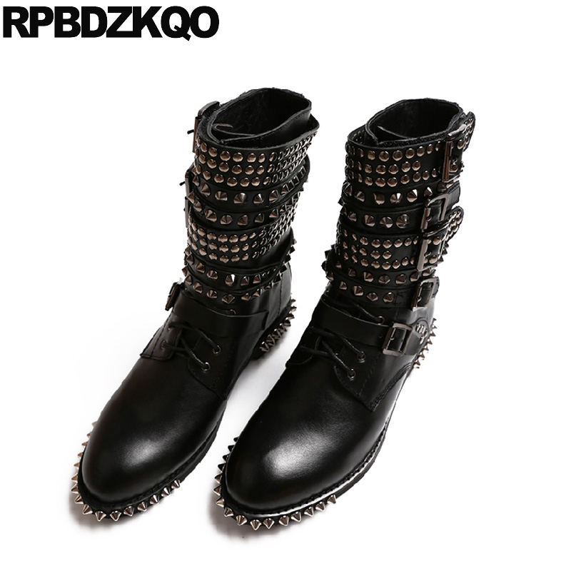 Platform Booties Boots Black Luxury Brand Shoes Women Punk Genuine Leather Ankle Round Toe Lace Up Spike High Quality Chinese